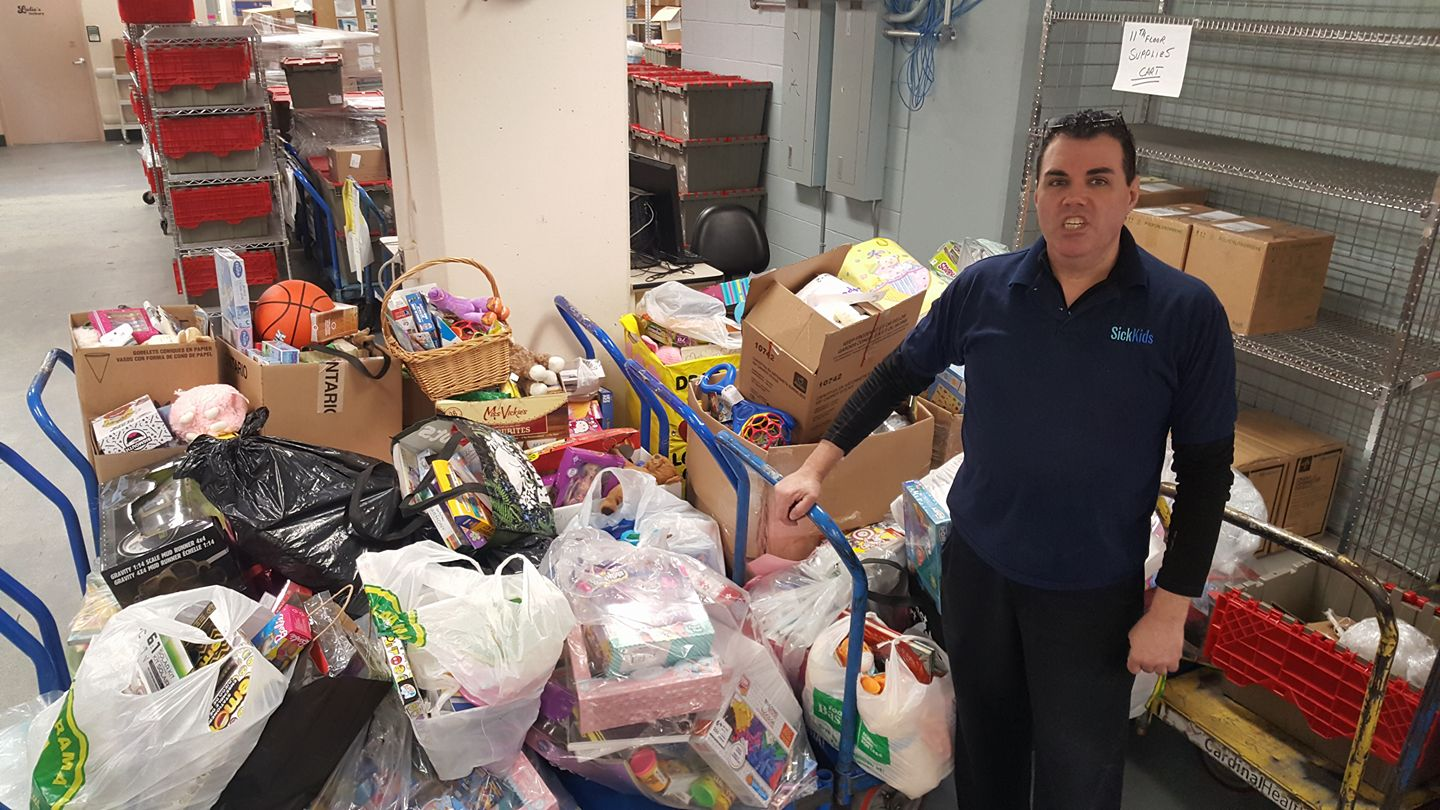 Donations dropped off at Sick Kids Toronto in March 2018